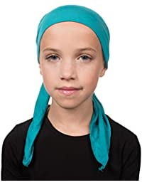 Kids Chemo Cap Pretied for Girls Soft Cancer Scarf - Turquoise