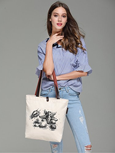 So'each Women's Starfish Shell Graphic Canvas Handbag Tote Shoulder Bag