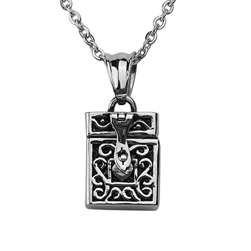 HooAMI Antique Silver Style Poison Prayer Box Heart Locket Pendant Necklace ()