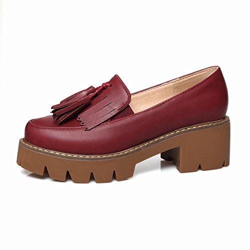 Latasa Kvinna Mode Tofsar Plattform Mitten Chunky Klack Slip På Loafers Rödvin Röda