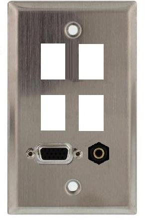 Stainless Steel Wall Plate with VGA (HD15) and 3.5mm Connectors Plus Four Keystone Ports; 75-746 by Philmore
