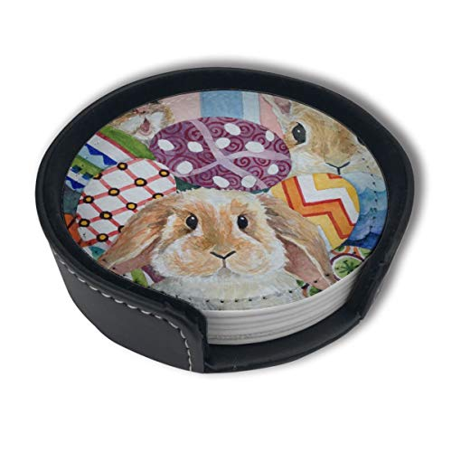 - HBLSHISHUAIGE Watercolor Rabbit and Pansies Coasters with Holder Set,Round Mugs and Cups Mat Pad for Drinks,Suitable for Home and Kitchen(6PCS)