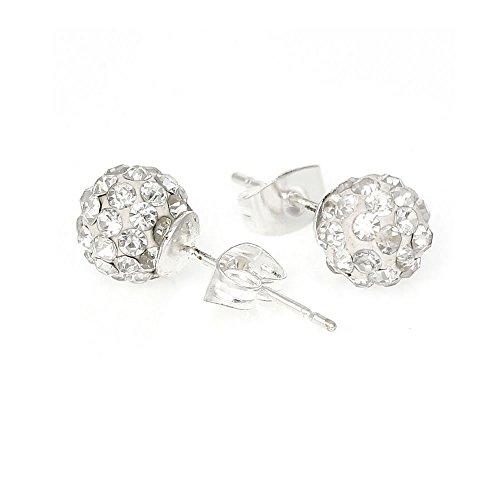 BirthdayEarrings 8mm Disco Ball Stud Earrings w/ ed Rhinestones Pave Pick Your (April) (April)