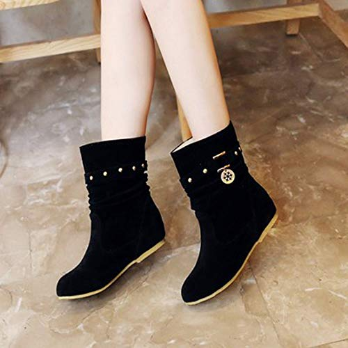 Rivets Winter Warm 2018 Holywin Keep Flat Matte Black Boots Womens Flock Wedges Shoes aAfwY