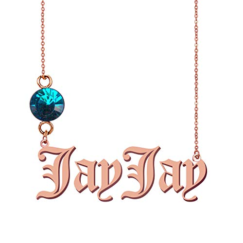 HUAN XUN Personalized Personal Simple Necklace JayJay Birthstone Pendant Jewelry Gifts