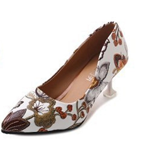 SHINIK Zapatos de mujer PU Verano Tacones Cómodos Zapatos de Paseo Stiletto Talón Punta Flor para Casual Negro Marrón champán