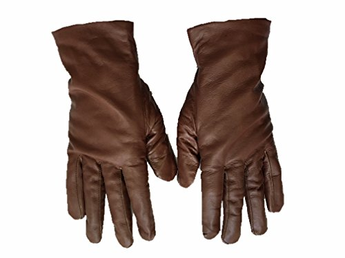 Luxury Women's Genuine Leather Sheep Skin Cold Weather Dressy Winter Driving Gloves (Extra Large, Light Brown)