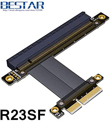 ShineBear PCIe 4X to PCIe 16x Extension Riser Cable 5cm 10cm 20cm 30cm 60cm 1m PCI-E GEN3.0 PCI-Express 4X 16x Extender Right Angle Cables Cable Length: 5cm, Color: R23SL