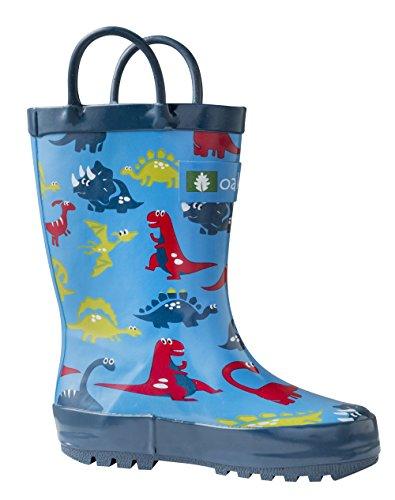 Oakiwear Kids Rain Boots | Dinosaurs (Blue Dinosaur, 11 M US Little Kid) (Boots Shoes For Kids)