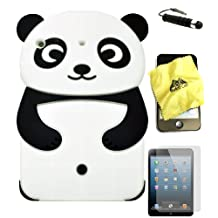 Bukit Cell ® BLACK 3D PANDA Cartoon Soft Silicone Skin Case Cover for Apple IPAD MINI (16GB 32GB 64GB WiFi and 4G / LTE Versions) + BUKIT CELL Lint Cleaning Cloth + Screen Protector + METALLIC Detachable Touch Screen STYLUS PEN with Anti Dust Plug [bundle - 4 items: case, cloth, stylus pen and screen protector]