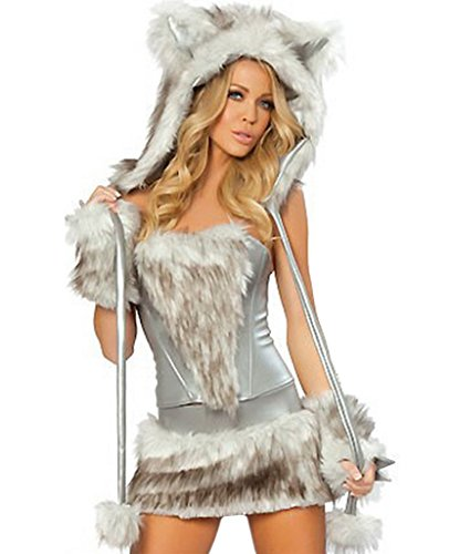 Wolf Sexy Costumes (COMVIP Halloween Hairy Wolf Cat Cosplay Sexy Animal Costume Grey)