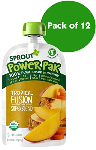- Sprout Organic Stage 4 Toddler Food Power Pak Pouches, Tropical Fusion w/ Superblend, 4 Ounce (Pack of 12)