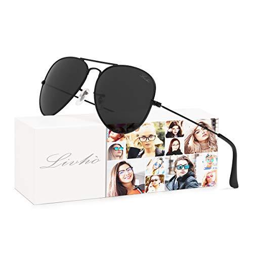 LIVHO Classic Aviator Sunglasses for Women Men Polarized,Metal Frame Mirror UV Lens Protection(Black Grey, 62)