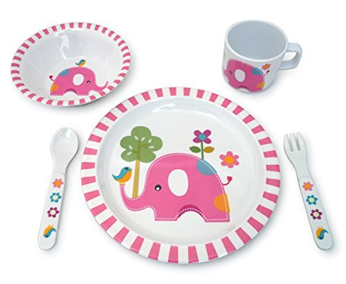 - Culina Kids Melamine Dinnerware- Elephant Design. Set of 5