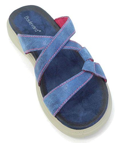 Suede Flops Flip 8 Ladies Leather Micro Open Blue Toe Size 3 Mules Look Comfort Sandals Womens 4vqBx6q