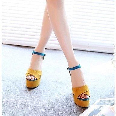 LvYuan Mujer-Tacón Cuña-Otro-Sandalias-Vestido Informal-PU-Amarillo Yellow