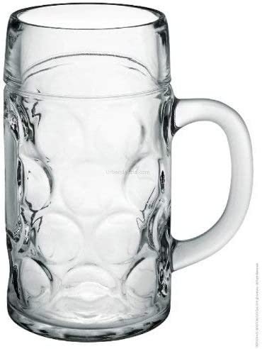 Edco German Beer Stein Mug 1Ltr Dimpled Glass 2 Pint Classic Large Beer Tankard Mugs With Handle Ale Cider Lager Party Pub Mugs With 1 Litre Filling Mark Clear Glass