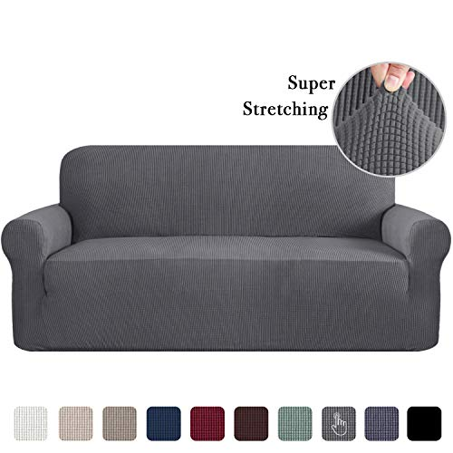 Sofa Cover Lounge Cover for 3 Seater Stretch Sofa Covers 1 Piece Furniture Protector Couch Cover Feature Rich Textured Lycra High Spandex Small Checks Jacquard Fabric (Sofa: Charcoal Gray)