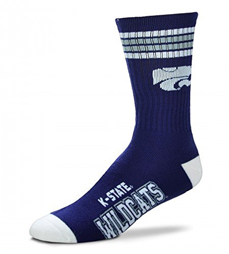 For Bare Feet NCAA 4 Stripe Deuce Crew Men Socks-Kansas State Wildcats-Large(10-13) (State Socks Wildcats Kansas)