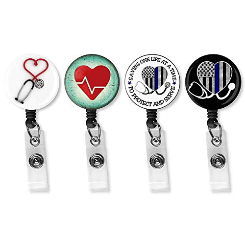 Nurse Badge Reel Holder Retractable - 4 Pack Retractable Badge Holder with Alligator Clip for Nurse and Doctor, Cute and Funny Heart Name Tag, ID Card, Work Badge for Women & Men