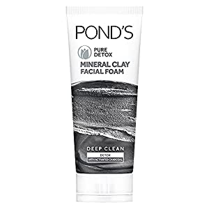 POND'S Pure Detox Mineral Clay Activated Charcoal, 4X Oil Absorbing, Detoxifying, For Oil Free Instant Glow, Face Wash…