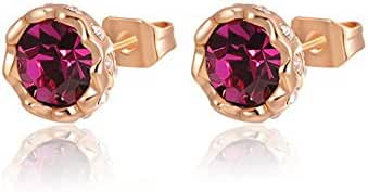 Rose Gold Stud Earrings for Women with Healing Colorful Zirconia Crystal Cluster Charms