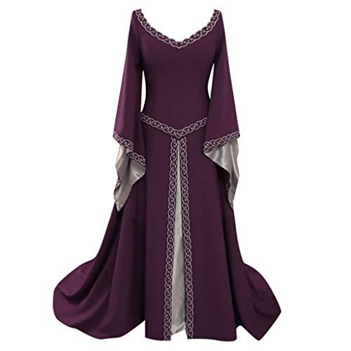 Caopixx Dress for Women Elegant 1950s Vintage Long Sleeve Medieval Dress Floor Length Cosplay Costume Princess Dress Purple -