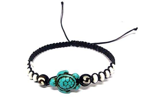 - Hawaiian Sea Turtle Bracelet -Handmade Bracelet - Black Hemp Bracelet (Blue) (Ecolution Hemp Fabric)