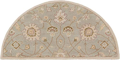 2' x 4' Half Moon Shaped Surya Accent Rug CAE1121-24HM Bone White Color Hand Tufted in India