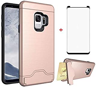 Phone Case for Samsung Galaxy S9 with Tempered Glass Screen Protector Credit Card Holder Wallet Stand Kickstand Hybrid Protective Cell Accessories Cover Glaxay S 9 Edge Galazy 9S GS9 Women Girls Men