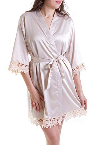 Women's Lace & Satin Short Robe Bathrobe Bridesmaid Gift Bridal Party Wedding Favor (Champagne, Plus Adult (2XL-3XL)) ()