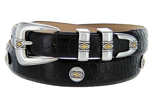 Snake Embossed Belt (Golden Diamond- Men's Genuine Italian Calfskin Embossed Designer Golf Dress)