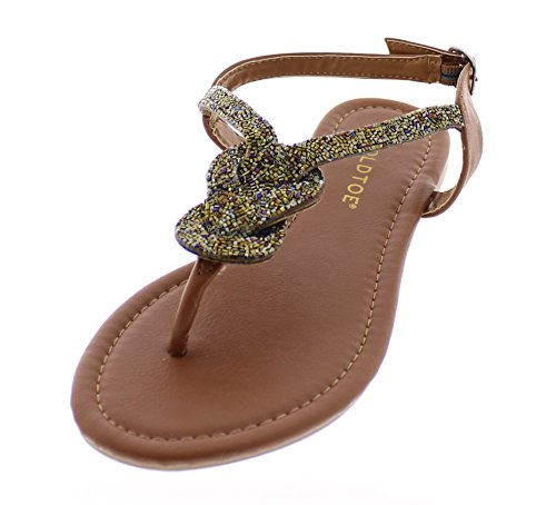 Gold Toe Women's Behati Boho Multicolor Beaded Thong Flip Flop Flat Sandal with Buckle Ankle Strap Cognac 8 US