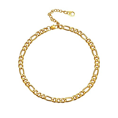 U7 18K Gold Anklets 5mm Italy Figaro Chain Link Bracelet Barefoot Jewelry, Adjustable Range 25cm to 30cm