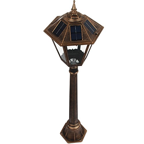 Black Led Solar Powered 5 Ft Traditional Garden Lamp Post: 4 Feet 2 Inch Outdoor Solar Powered Lamp Post With HIGH