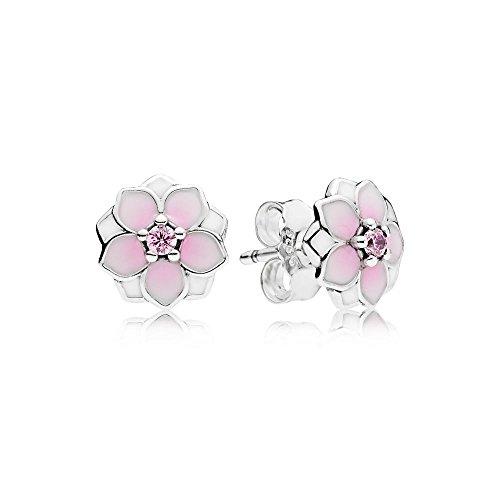 PANDORA Magnolia Bloom Stud Earrings, Pale Cerise Enamel & Pink CZ 290739PCZ
