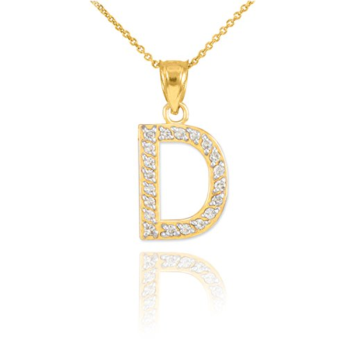14k Yellow Gold Diamond-Studded Initial Letter D Pendant Necklace, 20