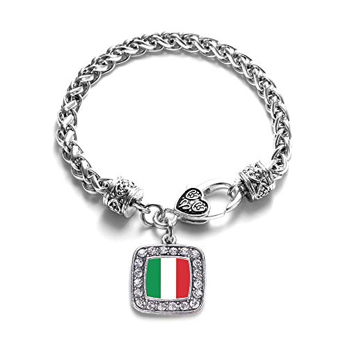 Inspired Silver - Italian Flag Braided Bracelet for Women - Silver Square Charm Bracelet with Cubic Zirconia Jewelry