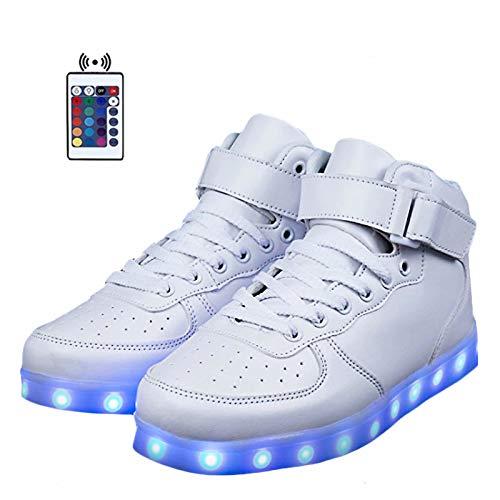 Hommes Blanc Gamme Haut Avec Sneakers Led Télécommande Usb Pour De Chaussures Femmes 0BxCn