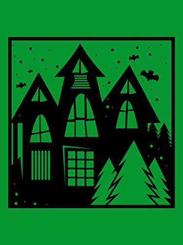 Borsa Tote Trick Or Treat Haunted House Graphic 38 x 42 cm in verde