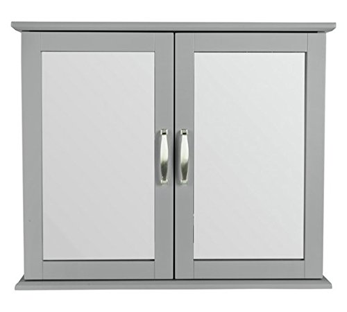 Collection New Tongue and Groove Mirrored Wall Cabinet -Grey CFB