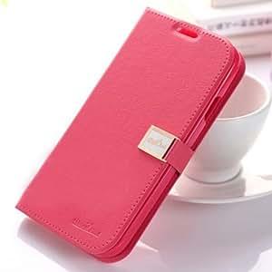 Prevoa ® 丨 Caso de la cubierta de la carpeta de lujo del tirón del cuero de la PU para Samsung Galaxy S4 i9500 SIV Color rosa oscuro