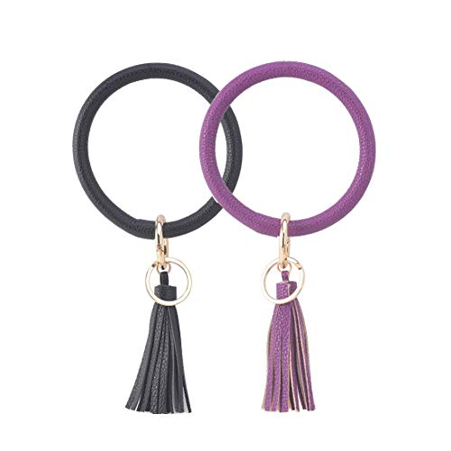 2 Pcs Big Bracelet Bangle Keychain Keyring - Large O Wrist Leather Bracelet Key Holder Key Chain Key Ring By Coolcos Black & Purple
