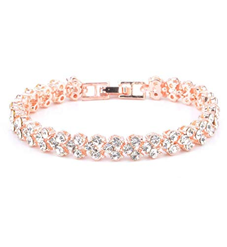 Clearance Sale!DEESEE(TM)New Fashion Roman Style Woman Crystal Diamond Bracelets Gifts (Rose Gold)