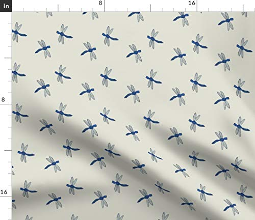 (Dragonfly Fabric - Cobalt Blue Emperor Pale Blue Grey Nature Insect Dragonflies Print on Fabric by The Yard - Minky for Sewing Baby Blankets Quilt Backing Plush)