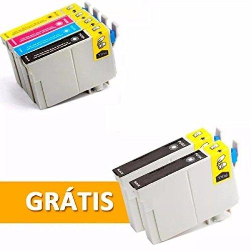 Kit 6 Cartuchos T1351 1332 1333 1334 Preto e Colorido Compatível Novo T25 Tx123 125 133