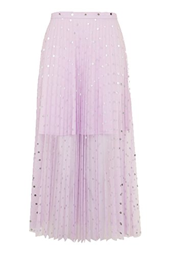 Topshop Foil Spot Pleat Tulle Midi Skirt for Women in Lavender, US 10 (UK 14)