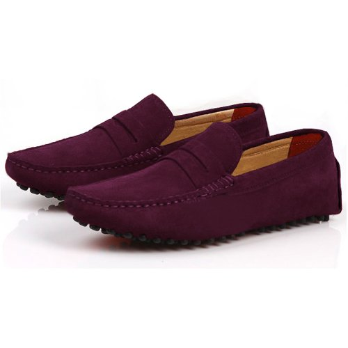 Plum Suede Leather (Fulinken Men's Suede Leather Moccasin Slip on Penny Loafers Causal Mens Shoes (8.5,)