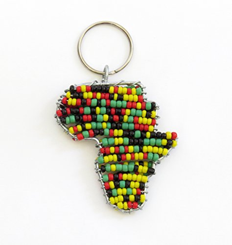- African beaded map of Africa keychain, keyring, purse jewelry, handbag charm - Rasta colours