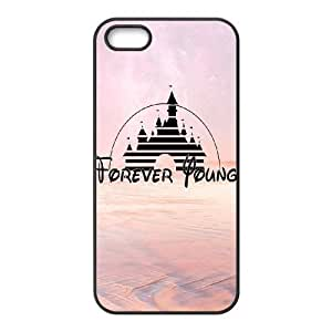Custom Hard Plastic Back Case Cover for iPhone 5,5S with Unique Design Forever Young